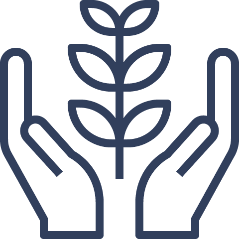 navy blue hands and plant symbol